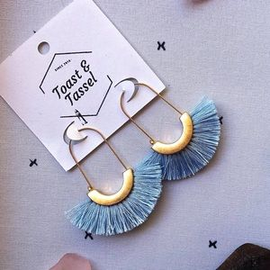 Blue Tassel Earrings trimmed in Gold